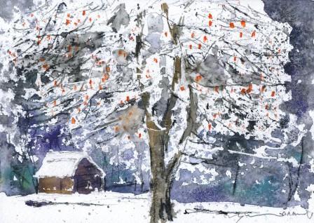 1012雪中の柿