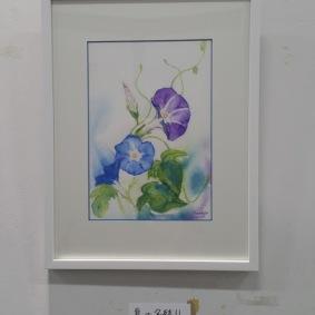 お孫さんからの種で育てステキなブルーの花が咲いた感動を描きました。